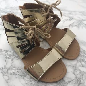 Other - Girls gold metallic gladiator lace up sandal